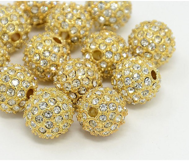 Crystal Gold Tone Rhinestone Ball Beads, 10mm Round