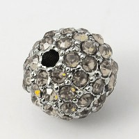 Crystal Platinum Tone Rhinestone Ball Beads, 10mm Round, Pack of 5