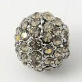 Crystal Platinum Tone Rhinestone Ball Beads, 10mm Round, Pack of 5