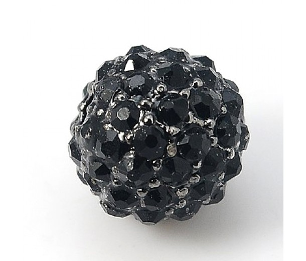 Jet Gunmetal Tone Rhinestone Ball Beads, 12mm Round, Pack of 5