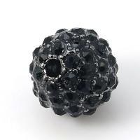 Jet Gunmetal Tone Rhinestone Ball Beads, 10mm Round, Pack of 5