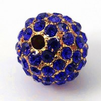 Sapphire Gold Tone Rhinestone Ball Beads, 10mm Round, Pack of 5