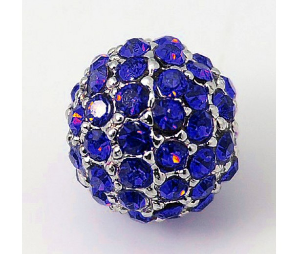 Sapphire Platinum Tone Rhinestone Ball Beads, 10mm Round, Pack of 5