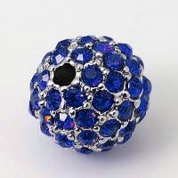 Sapphire Platinum Tone Rhinestone Ball Beads, 10mm Round