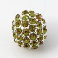 Peridot Silver Tone Rhinestone Ball Beads, 12mm Round, Pack of 5