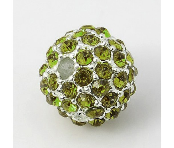 Peridot Silver Tone Rhinestone Ball Beads, 12mm Round