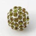 Peridot Silver Tone Rhinestone Ball Beads, 12mm Round, Pack of 5