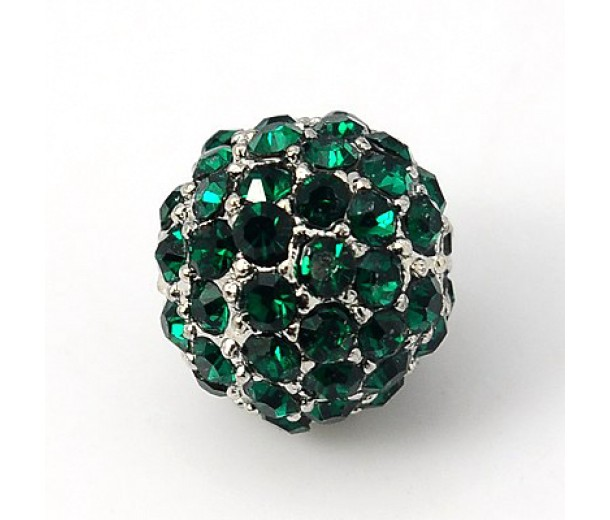 Emerald Platinum Tone Rhinestone Ball Beads, 10mm Round, Pack of 5