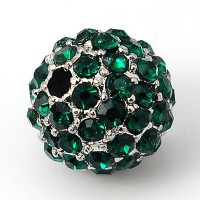 Emerald Platinum Tone Rhinestone Ball Beads, 10mm Round