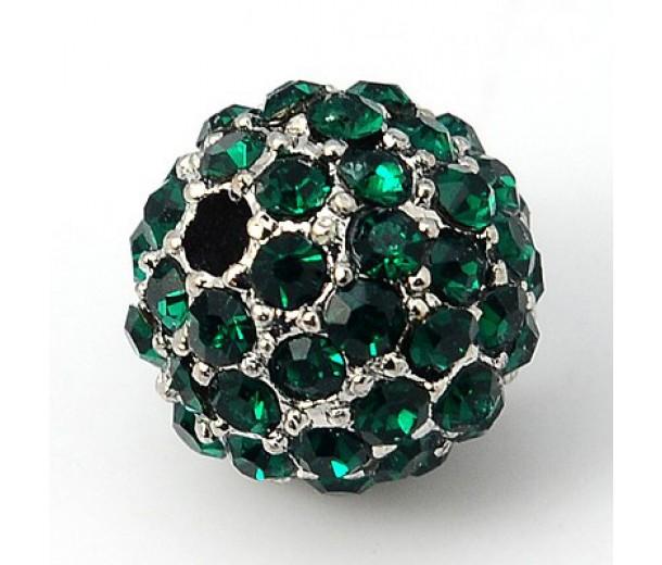 Emerald Platinum Tone Rhinestone Ball Beads, 10mm Round