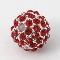 Light Siam Silver Tone Rhinestone Ball Beads, 10mm Round