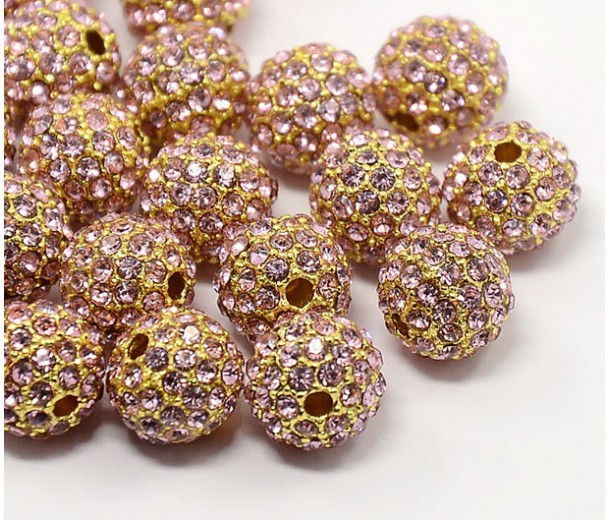 Light Pink Gold Tone Rhinestone Ball Beads, 10mm Round, Pack of 5