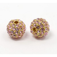 Light Pink Gold Tone Rhinestone Ball Beads, 12mm Round