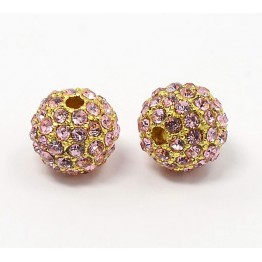 Light Pink Gold Tone Rhinestone Ball Beads, 10mm Round