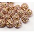 Light Pink Gold Tone Rhinestone Ball Beads, 10mm Round, Pack of 5