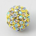 Crystal AB Gold Tone Rhinestone Ball Beads, 12mm Round, Pack of 5