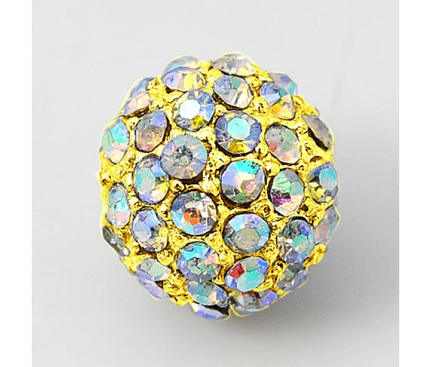 Crystal AB Gold Tone Rhinestone Ball Beads, 10mm Round, Pack of 5