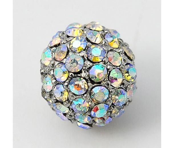Crystal AB Platinum Tone Rhinestone Ball Beads, 10mm Round, Pack of 5