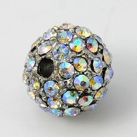 Crystal AB Platinum Tone Rhinestone Ball Beads, 10mm Round, Pack of 5
