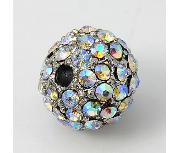 Crystal AB Platinum Tone Rhinestone Ball Beads, 10mm Round