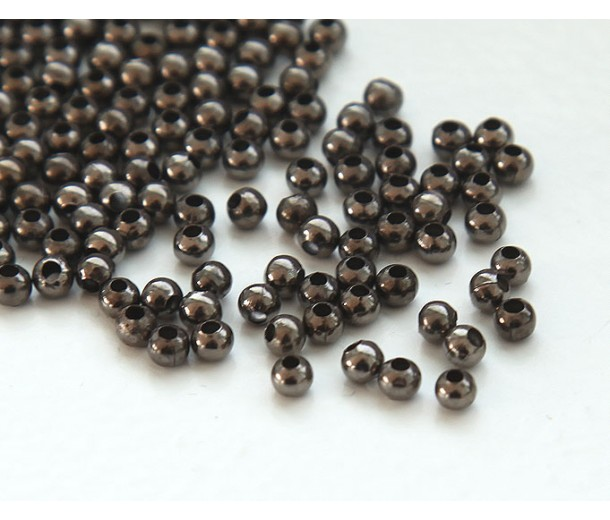 3mm Seamed Round Beads, Gunmetal, Pack of 100