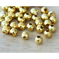 4mm Seamed Round Beads, Gold Tone