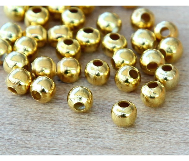 4mm Seamed Round Beads, Gold Tone, Pack of 100