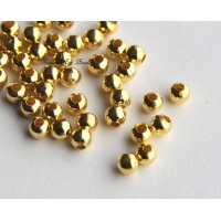 5mm Seamed Round Beads, Gold Tone
