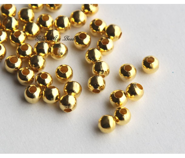 5mm Seamed Round Beads, Gold Tone, Pack of 100