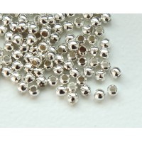 4mm Seamed Round Beads, Silver Tone
