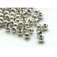 5mm Seamed Round Beads, Silver Tone, Pack of 100