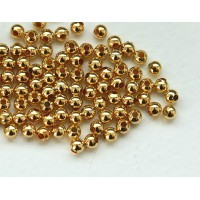 3mm Seamed Round Beads, Gold Tone, Pack of 100