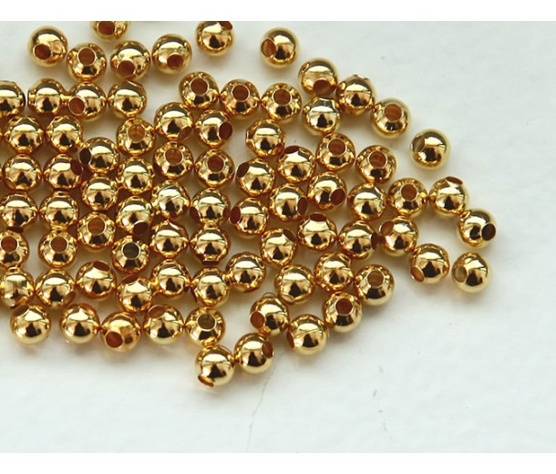 3mm Seamed Round Beads, Gold Tone
