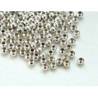 3mm Seamed Round Beads, Silver Tone