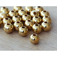 4mm Smooth Round Beads, Gold Plated, Pack of 100