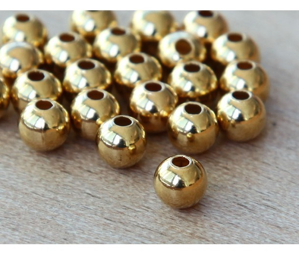 3mm Smooth Round Beads, Gold Plated