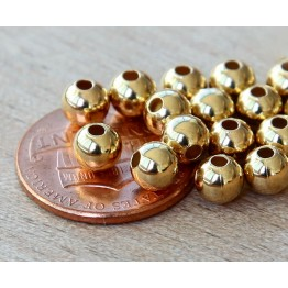 5mm Smooth Round Beads, Gold Plated