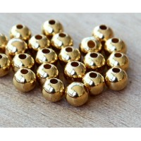 6mm Smooth Round Beads, Gold Plated