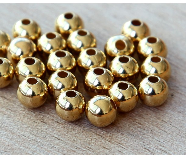 6mm Smooth Round Beads, Gold Plated, Pack of 50