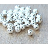 3mm Smooth Round Beads, Silver Plated