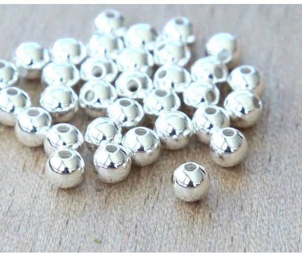 3mm Smooth Round Beads, Silver Plated, Pack of 100