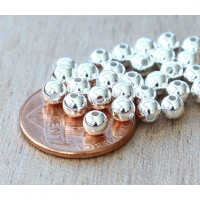 4mm Smooth Round Beads, Silver Plated, Pack of 100