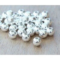 5mm Smooth Round Beads, Silver Plated
