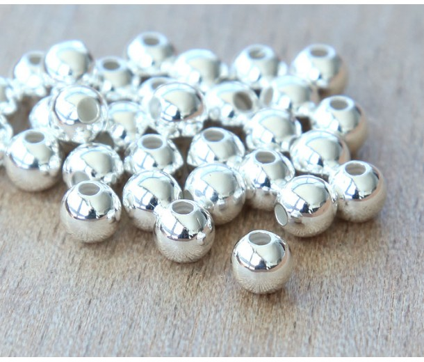 5mm Smooth Round Beads, Silver Plated, Pack of 50