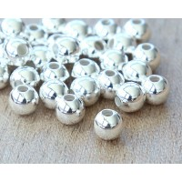 6mm Smooth Round Beads, Silver Plated, Pack of 25