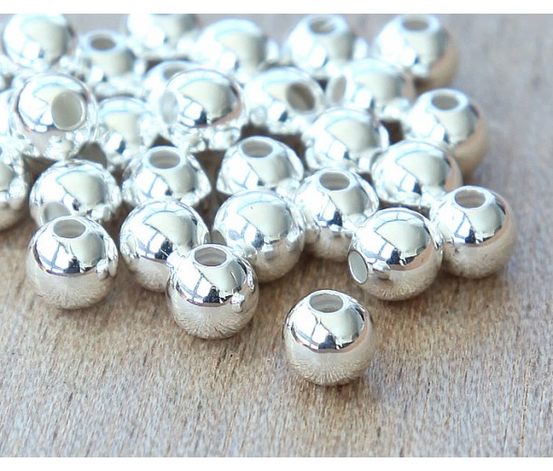 6mm Smooth Round Beads, Silver Plated, Pack of 50