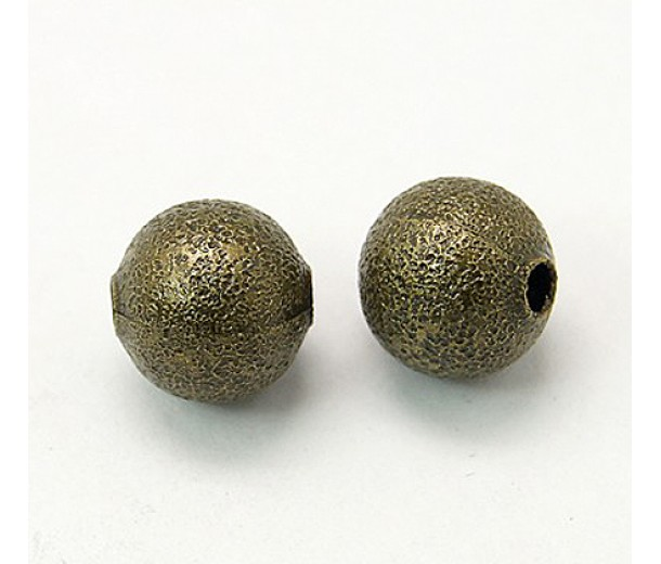 10mm Round Stardust Beads, Antique Brass, Pack of 25