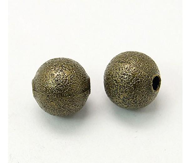 10mm Round Stardust Beads, Antique Brass