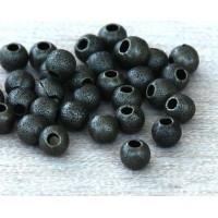 4mm Round Stardust Beads, Antique Brass