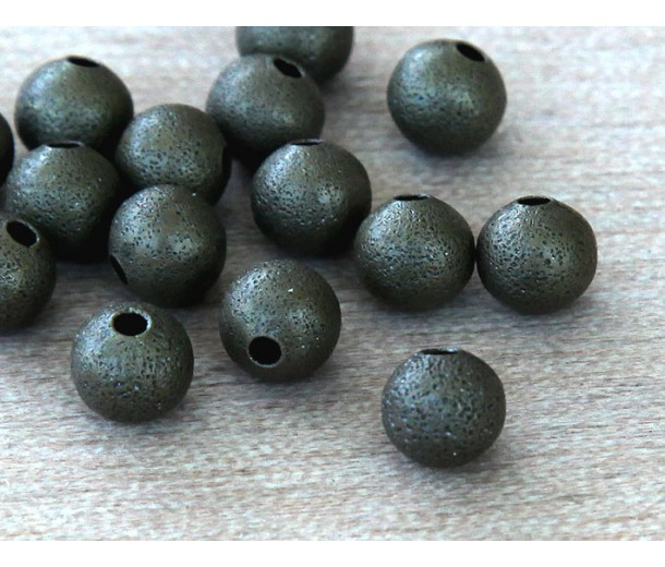 6mm Round Stardust Beads, Antique Brass, Pack of 50